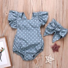 2-piece Polka Dotted Ruffled Sleeves Romper snd Headband for Baby Girl