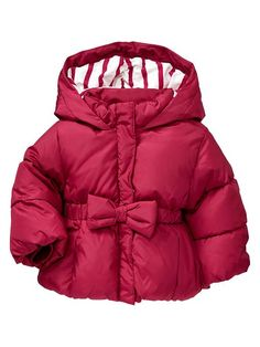 This is unbelievably precious.  Gap | Warmest puffer bow jacket