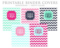 Printable Binder Covers - Monogram, Chevron, Mint, Pink, Navy, Sky Blue - Instant Download