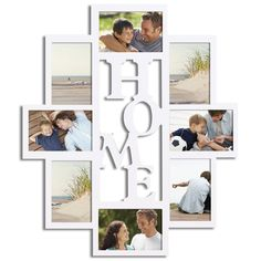 """Decorative White Wood """"Home"""" Wall Hanging Picture Photo Frame Collage"""