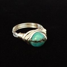 Turquoise Wrap Ring Beautiful Turquoise Handwrapped with Sterling Silver Plated Wire. Size 8 or Custom Size available Jewelry Rings