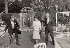 The Queen being shown the displays at the 1974 Chelsea Flower Show by the 3rd Lord Aberconway and Donald Farthing. She has only missed five shows since becoming Queen in 1952