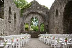 Old church ruin wedding venue in Ireland