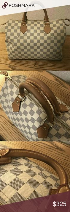 Louis Vuitton Speedy 30 Damier Azur bag is in great condition not scratches or marks 100% authentic and if you want to buy text me at 409-291-1422 I'm willing to take offers Louis Vuitton Bags Shoulder Bags
