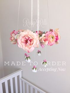 Bright pink and gold nursery flower mobile, pink crib mobile, pink baby girl…
