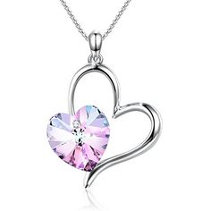 SweetieHeart Shape Pendant Necklace Angelady Jewelry for GF Family Friends GiftsCrystal from Swarovski *** Check out this great article.