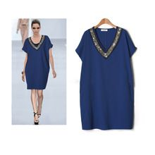 WL2376 Free shipping 2016 European leg of European and American big yards fat MM summer new beaded collar was thin V-neck dress(China (Mainland))