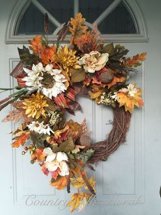 Diy Fall Wreath, Thanksgiving Wreaths, Autumn Wreaths, Wreath Crafts, Summer Wreath, Holiday Wreaths, Fall Flowers, Door Wreaths, Burlap Wreaths