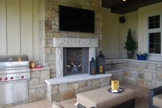 outdoor tv + fire
