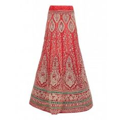 Red Net Lengha with Embroidered Velvet Patches