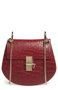 Chloé 'Small Drew' Croc Embossed Calfskin Leather Shoulder Bag