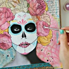 Transform any face into a Day of the Dead Diva with this easy & fun Art Journal prompt