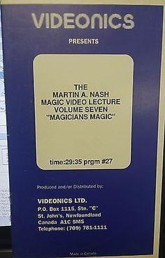 """Videonics The Martin A Nash Magic Video Lecture Volume 7 """"Magicians Magic"""" Collectibles:Fantasy, Mythical & Magic:Magic:Tricks www.webrummage.com $12.79"""