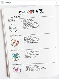 BUJO self-care Use for routine choices