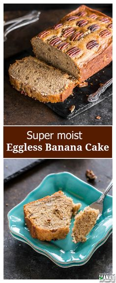 Moist Eggless Banana Cake is the perfect cake to enjoy with your coffee! It's lightly spiced making it perfect for everyday celebration! Find the recipe on www.cookwithmanali.com