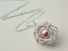 One Child Bird's Nest Necklace  Sterling Silver Pearls by gabeadz