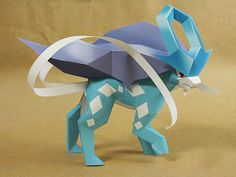 Pokemon - Suicune Ver.3 Free Papercraft Download - http://www.papercraftsquare.com/pokemon-suicune-ver-3-free-papercraft-download.html#Pokemon, #Suicune