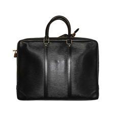 authentic Louis Vuitton Black Epi Leather Porte Documents Black Bag Black Handbags, Luxury Handbags, Computer Bags, Unique Bags, All Black Everything, Back To Black, Louis Vuitton Handbags, Authentic Louis Vuitton, Pure Products