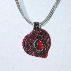 Beaded heart pendant for Valentines