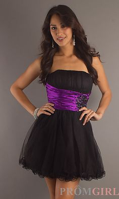Short Strapless Tulle Party Dress at PromGirl.com