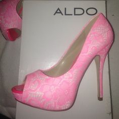 Aldo hot pink heels Hot pink high heels with peep toe. Brand new, never worn and super cute!!! size 8 ALDO Shoes Heels