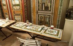 Painted furniture and art panels in the studio/gallery of Jean-Pierre Besenval