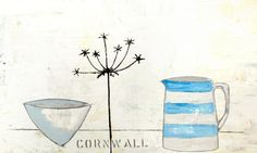 Cornwall Tea Towel.  100% cotton. Made in the UK. Design from an original oil painting by Diana Nelson.