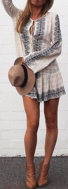 #summer #cool #outfits | Dress + Ankle Boots
