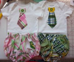 John Deere set for Twin boy and girl  divabows@ymail.com     www.facebook.com/WestinDivaBows