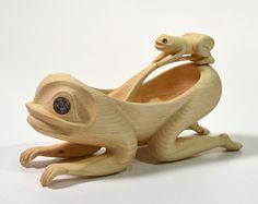 Frog Bowl and Spoon by Carol Young (Bagshaw), Haida artist (XN110401)