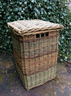 Square linen basket by John Cowan Baskets