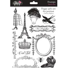 Glitz Design - French Kiss Collection - Clear Acrylic Stamps at Scrapbook.com $13.99