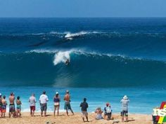 Humpback whales go for a surf at Pipeline | GrindTV.com~T~ A mother and baby riding the second wave behind a surfer. Love it.