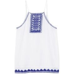 Mango Embroidered Top, White/Blue (€33) ❤ liked on Polyvore featuring tops, blue sleeveless top, embellished halter top, blue top, white embroidered top and halter neck top