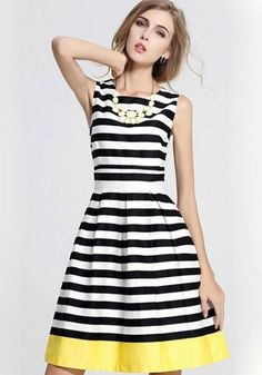 Sail Away Stripe Dress! Classic Beauty in this bold stripe dress with a splash of yellow bottom.  An easy, effortless style where all that is missing is a classic statement necklace!  TheChicFind.com