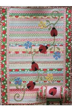 LADYBIRDS ON PATROL quilt pattern (Jelly Roll friendly)