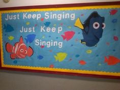 i love Dory, love the quote, and lobe the fact that one of my choir kids who is now a music teacher made this bulletin board for her classroom. Disney Classroom, Music Classroom, Classroom Decor, Turtle Classroom, Infant Classroom, Music Teachers, Classroom Walls, Classroom Posters, Classroom Displays