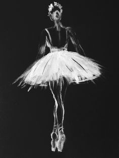 Ballerina black white, pastel on black paper Art Print by myartspace - X-Small Black And White Picture Wall, Black And White Painting, Black And White Pictures, White Art, Black White, Black Canvas Paintings, Small Paintings, Black Paper Drawing, Ballerina Painting