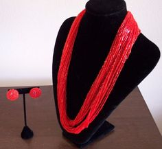 """Multi Strand Red Necklace Earring Set Beaded Unmarked Gold Tone Flower 12"""" #Unbranded"""