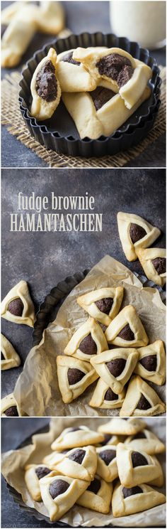 Fudge Brownie Hamantaschen- Little pillows of fudge-y chocolate brownie filling, surrounded by a butter-y sugar cookie. food recipes cookies via @bakingamoment