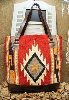 Brown Southwest Navajo Rug Tote Purse