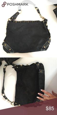 Coach NBU black logo hobo gold hardware Authentic Coach black hobo bag cloth with satin c logo gold hardware buckle leather & cloth strap. Coach Bags Shoulder Bags