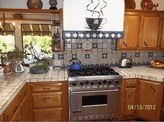Kitchen with blue Talavera tile