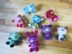 Ravelry: Bears! Bunnies! Cats! pattern by Minazara. These are so cute! ¯\_(ツ)_/¯