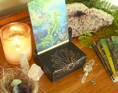 Crystal shelves and Tarot boxes for your sacred by topazandpine Tarot Card Spreads, Tarot Cards, Crystal Shelves, Tarot Decks, Etsy Seller, Boxes, Angel, Crystals, Creative