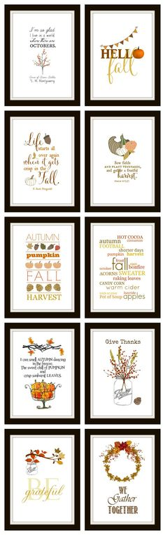 10 Free Fall Printables Ready to frame for instant DIY wall art. They make great cards and screensavers too! All are original and all the easy links are right here. Autumn Crafts, Holiday Crafts, Holiday Fun, Happy Fall Y'all, Fall Cards, Autumn Home, Autumn Art, Diy Wall Art, Fall Harvest