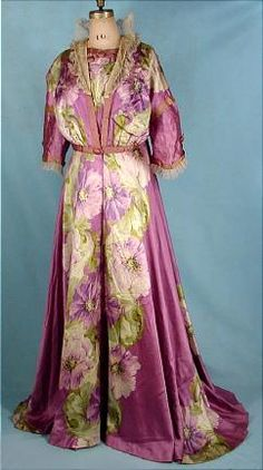 1909 Liberty, London,   Floral Sillk Satin Dressing Gown