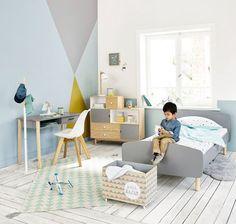 Chambre de petit garçon graphique en gris en blanc