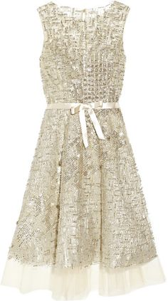 OSCAR DE LA RENTA   ROMAN HOLIDAY Embellished Tulle Dress