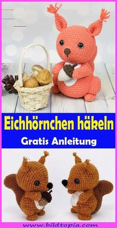 Amigurumi Eichhörnchen häkeln – kostenlose DIY AnleitungIn this free tutorial, I will show you how to crochet a cute amigurumi squirrel yourself. The crochet pattern is easy to rework even for beginners. The crocheted squirrel is great as a cuddly t Tutorial Amigurumi, Crochet Amigurumi, Amigurumi Doll, Baby Knitting Patterns, Loom Knitting, Crochet Patterns, Knitting Designs, Crochet Baby Hats, Crochet Hooks